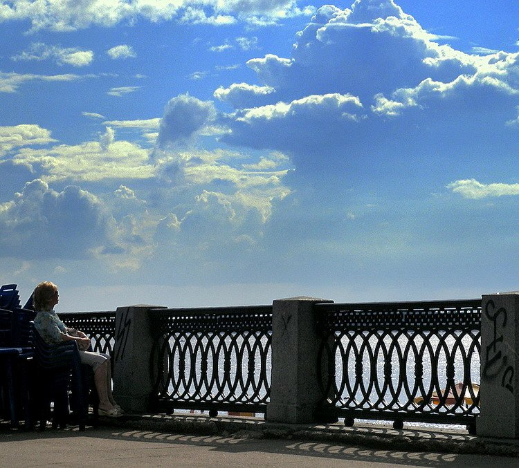 небо, облака, самара, волга, мечты, мечтательница, набережная, Andi