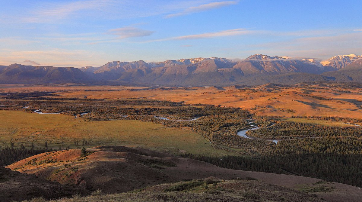 алтай, пейзаж, природа, горы, река, рассвет, дымка, река, долина, Sokolova Tatiana