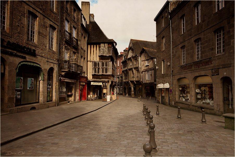 франция, динан, город, улочка, средневековье, дома, Darn Cat