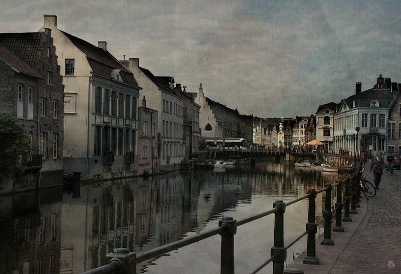 бельгия, гент, город, канал, люди, акварель, Darn Cat