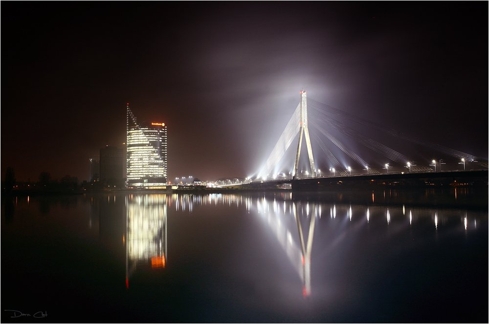 латвия, рига, мост, мистика, свет, отражение, свет, огни, Darn Cat