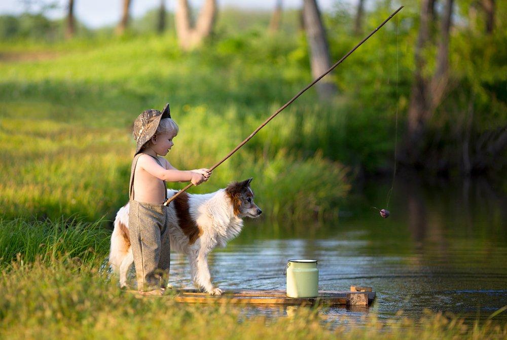 Друзья, Озеро, Рыбак, Рыбак собака рыбалка друзья озер, Рыбалка, Собака, Удочка, Светлана Квашина
