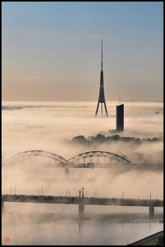 город, рига, туман, тв, башня, Cairns (Павел Васильев)