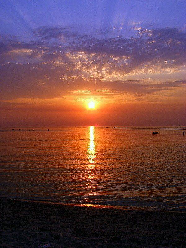 азов, море, солнце, закат, Andi