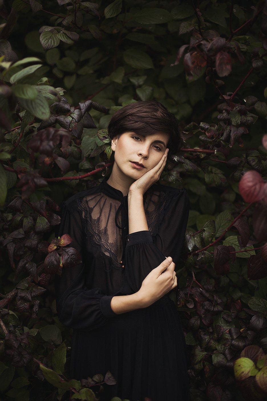 Девушка, Кружева, Листья, Стрижка, Черное платье, Sanica