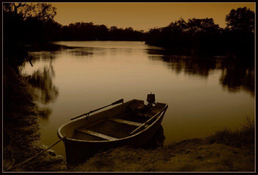 пейзаж, ночь, река, лодка, тишина, безмолвие, lad_i_mir, lad_i_mir