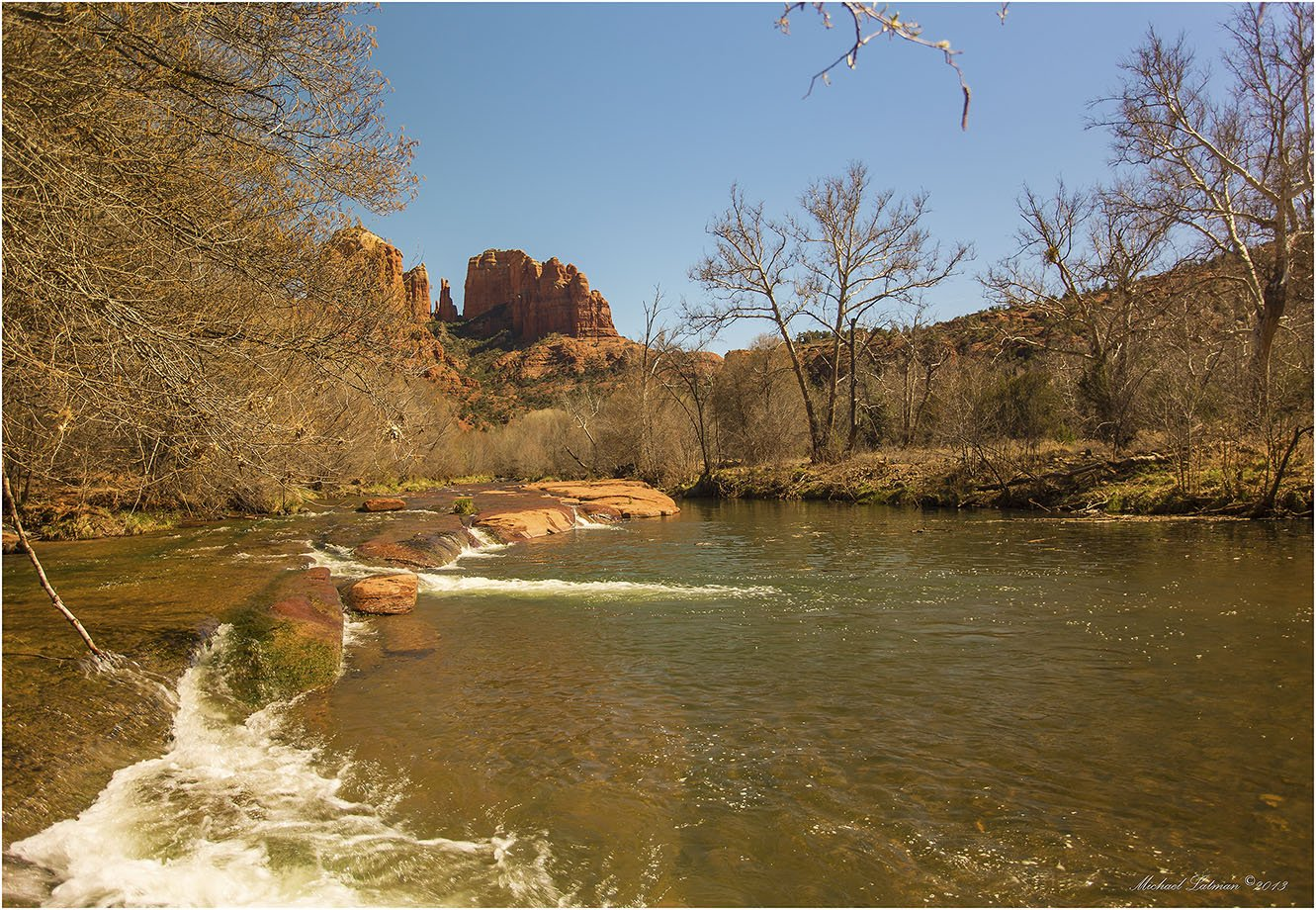 Arizona, Cathedral Rock, March, Nature, Rock, Sedona, Sky, Spring, Usa, Water, Michael Latman