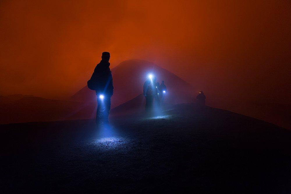 Вулкан, Извержение, Камчатка, Ночь, Денис Будьков