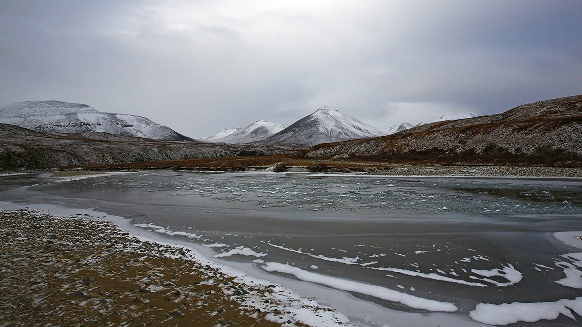 сопки, снег, осень, речка, пейзаж, природа, россия,, Sergey Shulga