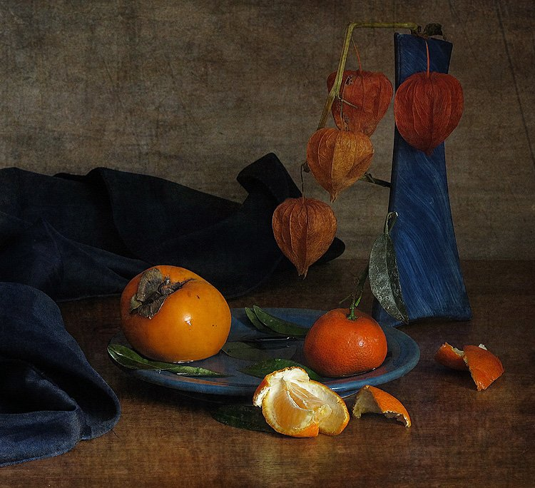 мандарин, натюрморт, осень, физалис, хурма, LudmilaNG