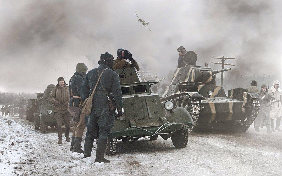 передовой отряд, ба-20, т-26, зима, война, снег, Boji