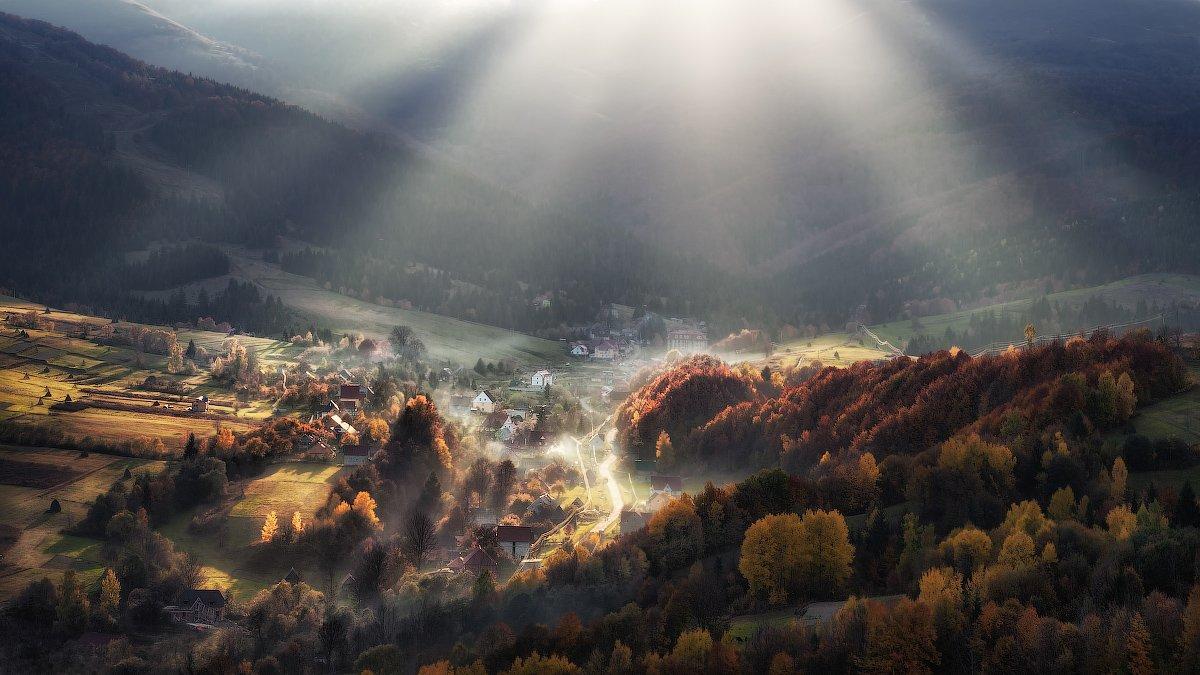 Carpathian Mountains, Rays, Sun, Ukraine, Горы, Карпаты, Лучи, Пилипец, Солнце, Украина, Скалин Алексей