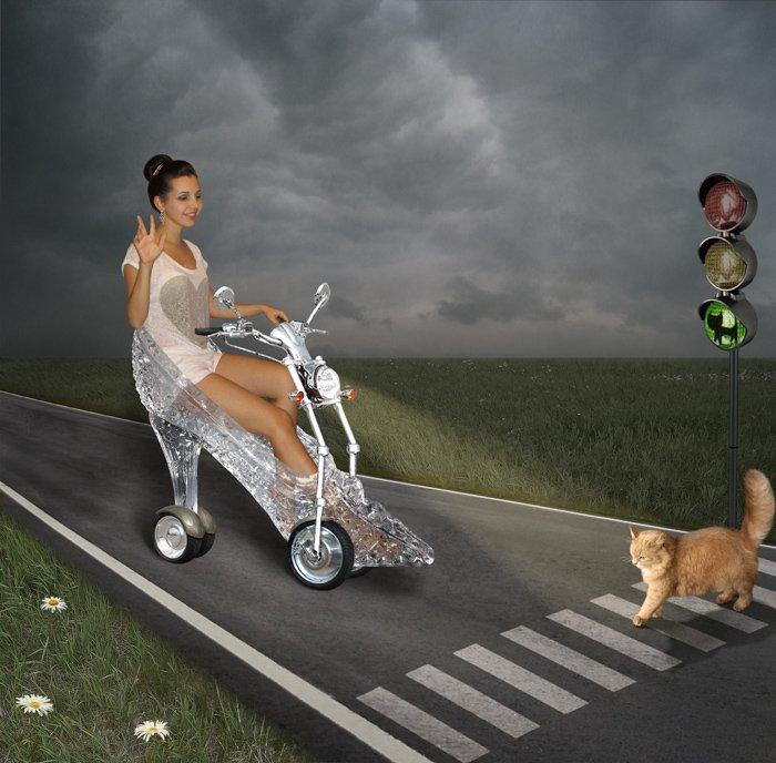 Дорога, переход, светофор, юмор,, Примета, Рыжая кошка, Хрустальная туфелька, Iridi (Ирина Кузнецова)