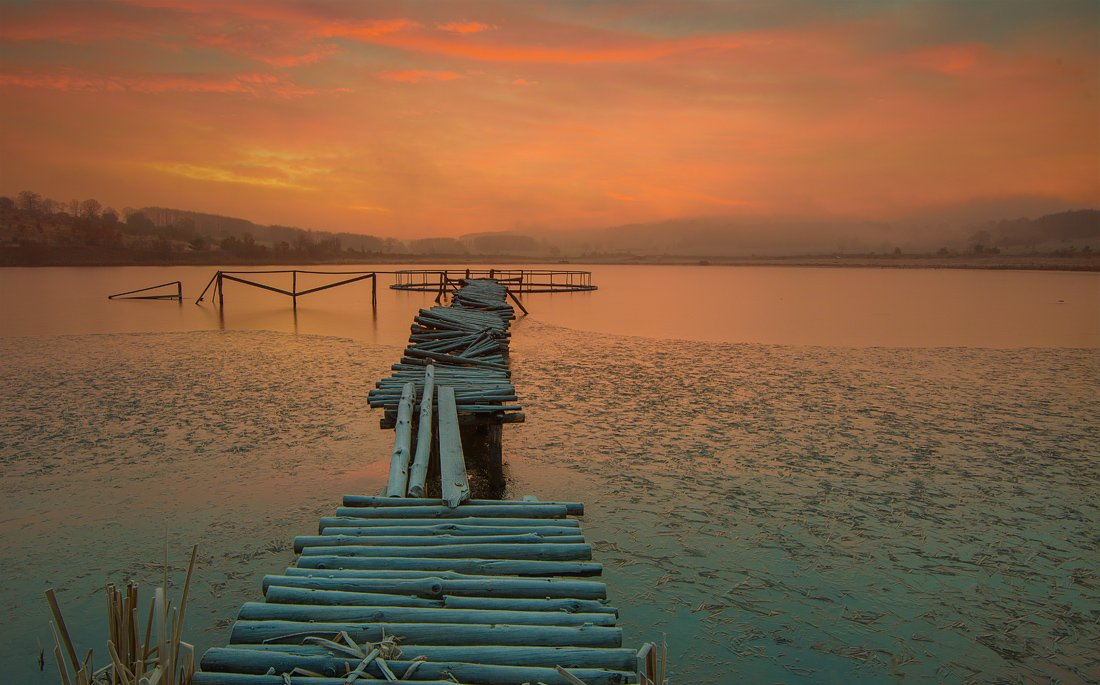 sunrise, fog, morning, wood, bridge, sky, Philip Peynerdjiev