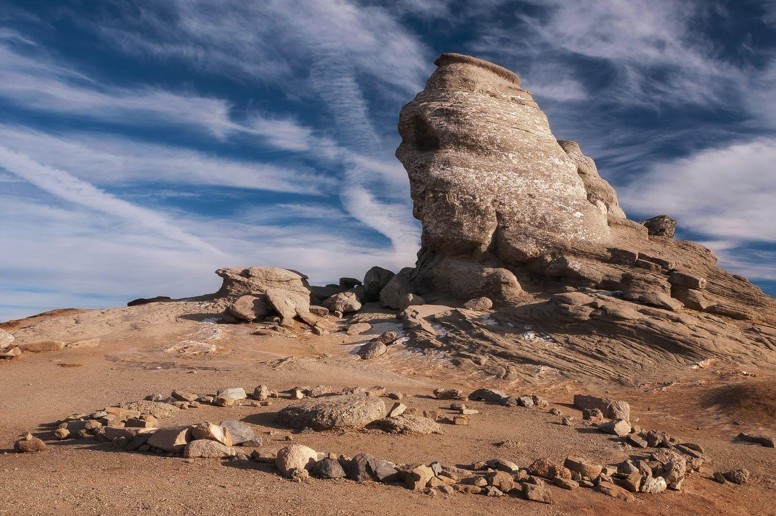 blue, landscape, mountain, rock formation, sky, stone, Ioan Chiriac