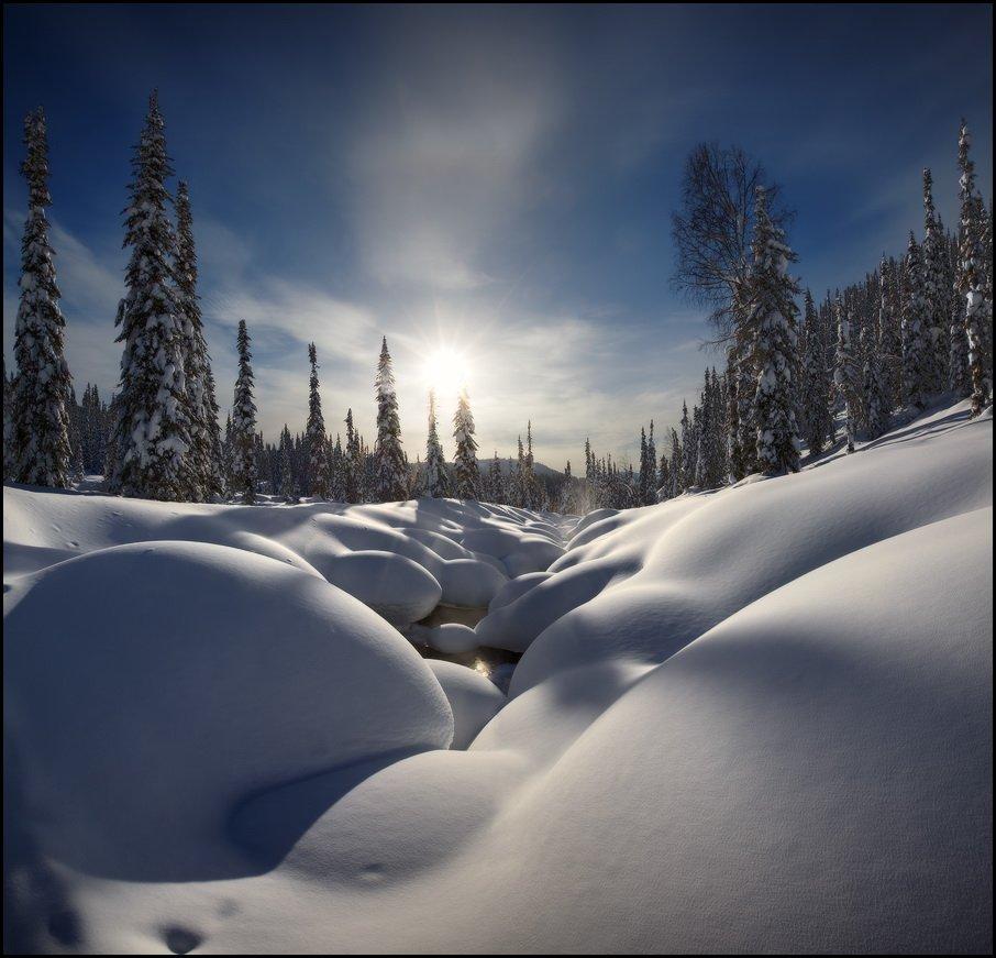 Зима, Кузнецкий Алатау, Пихты, Река, Снег, Сугробы, Утро, Ярославский Виталий, Виталий из Н-ска