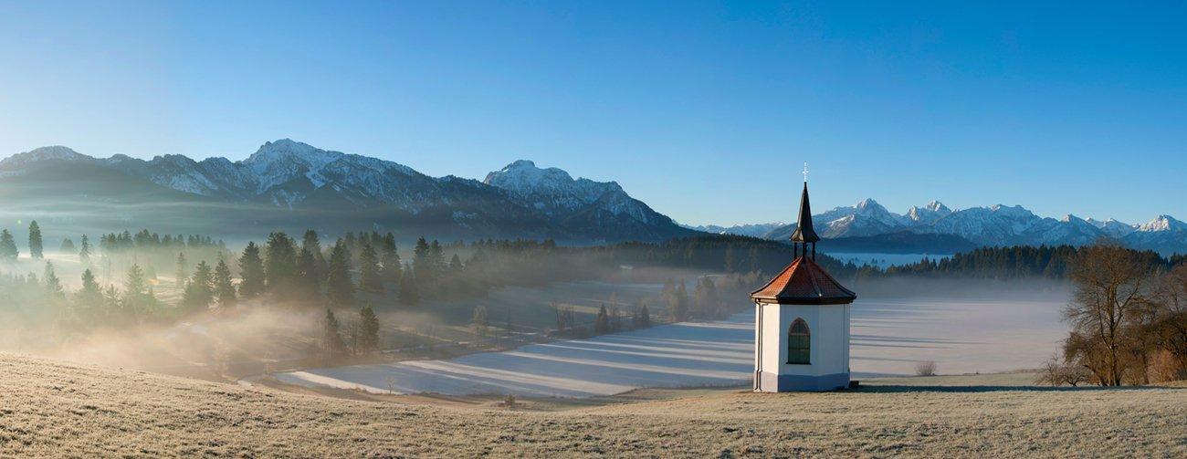 Альпы, Бавария, Германия, Горы, Зима, Озеро, Пейзаж, Путешествие, Рассвет, Утро, Церковь, Часовня, Динара