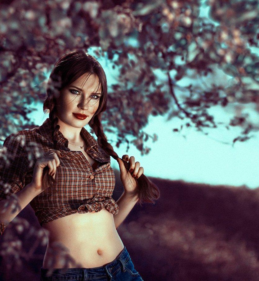 Girl, Grass, Outdoors, People, Portrait, Spring, Sunlight, Trees, Varicolored, Olga Tkachenko