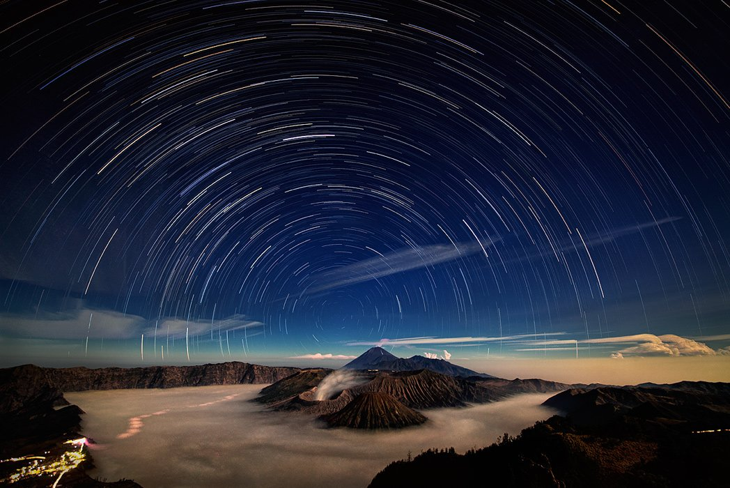 Бромо, Вулкан, Звезды, Индонезия, Ночь, Туман, Ява, Бирюков Юрий