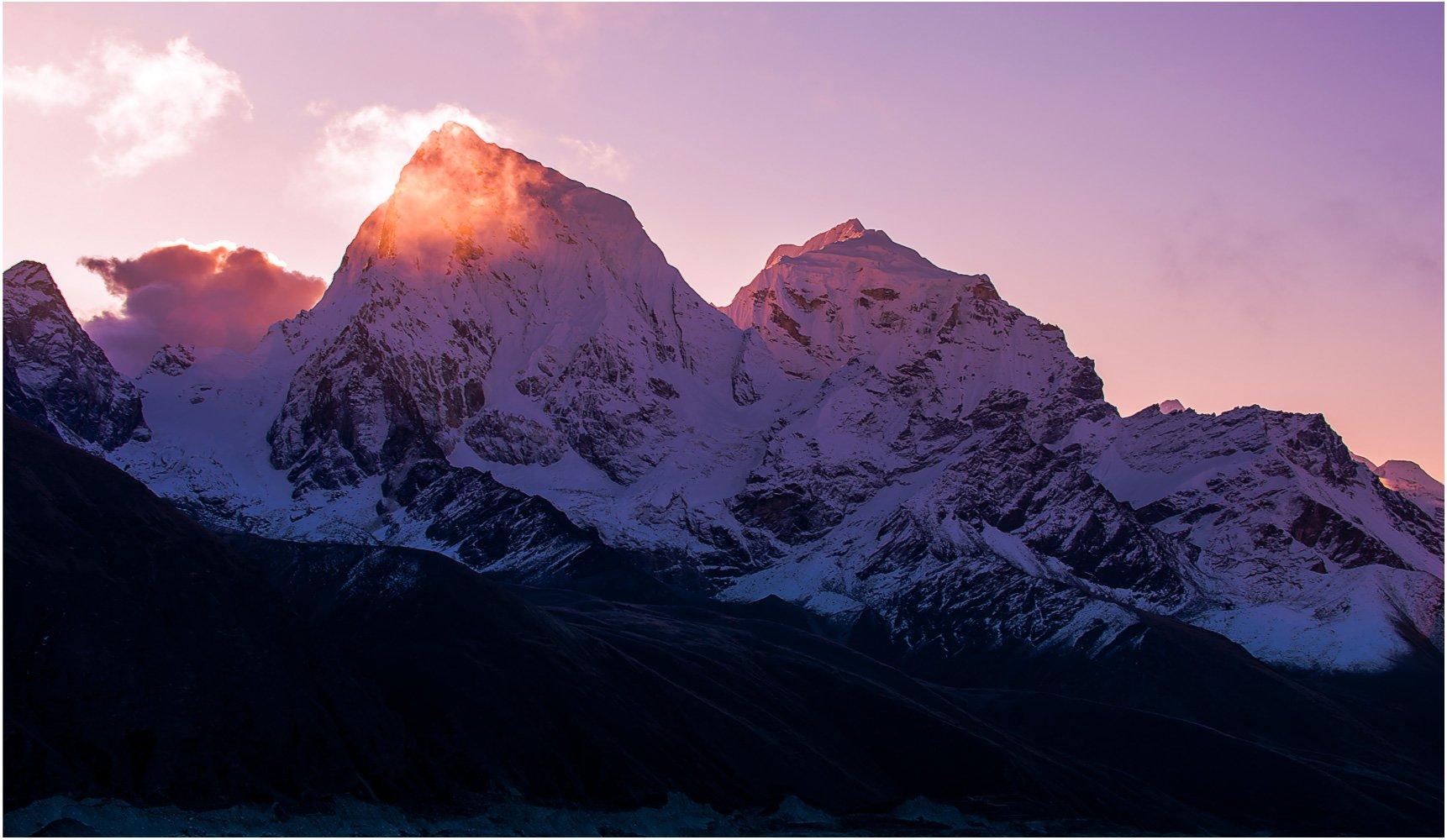 Вершины, Гималаи, Горы рассвет, Непал, Снег, Солнце, trinitrotoluol