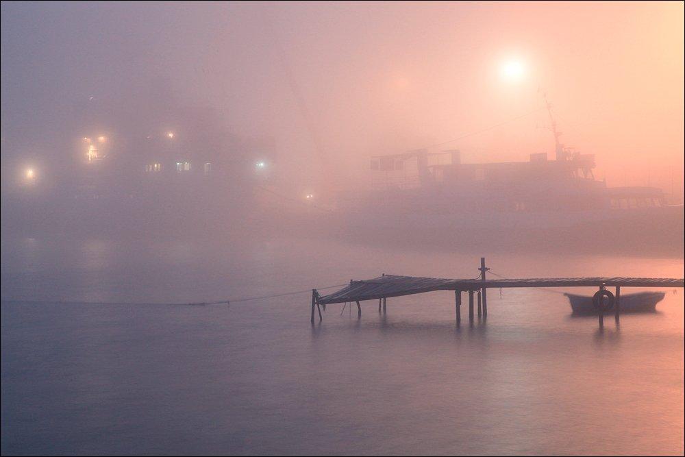 туман, море, порт,, Victor Pechenev