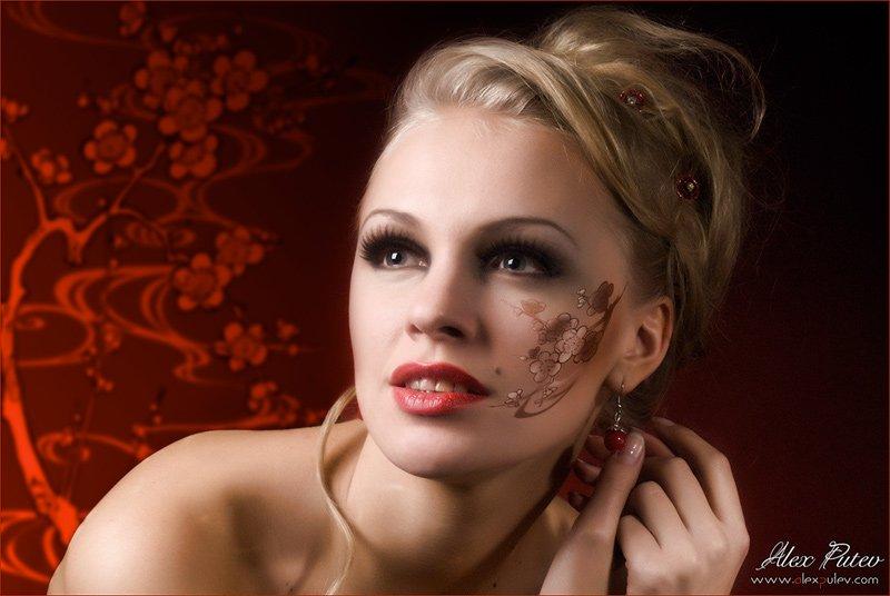 ветка,сакура,образ,девушка,глаза,настроение,мечты, Александр Путев