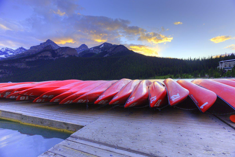 Boaats, Lake, Mountains, Summer, Sunset, Michael Latman