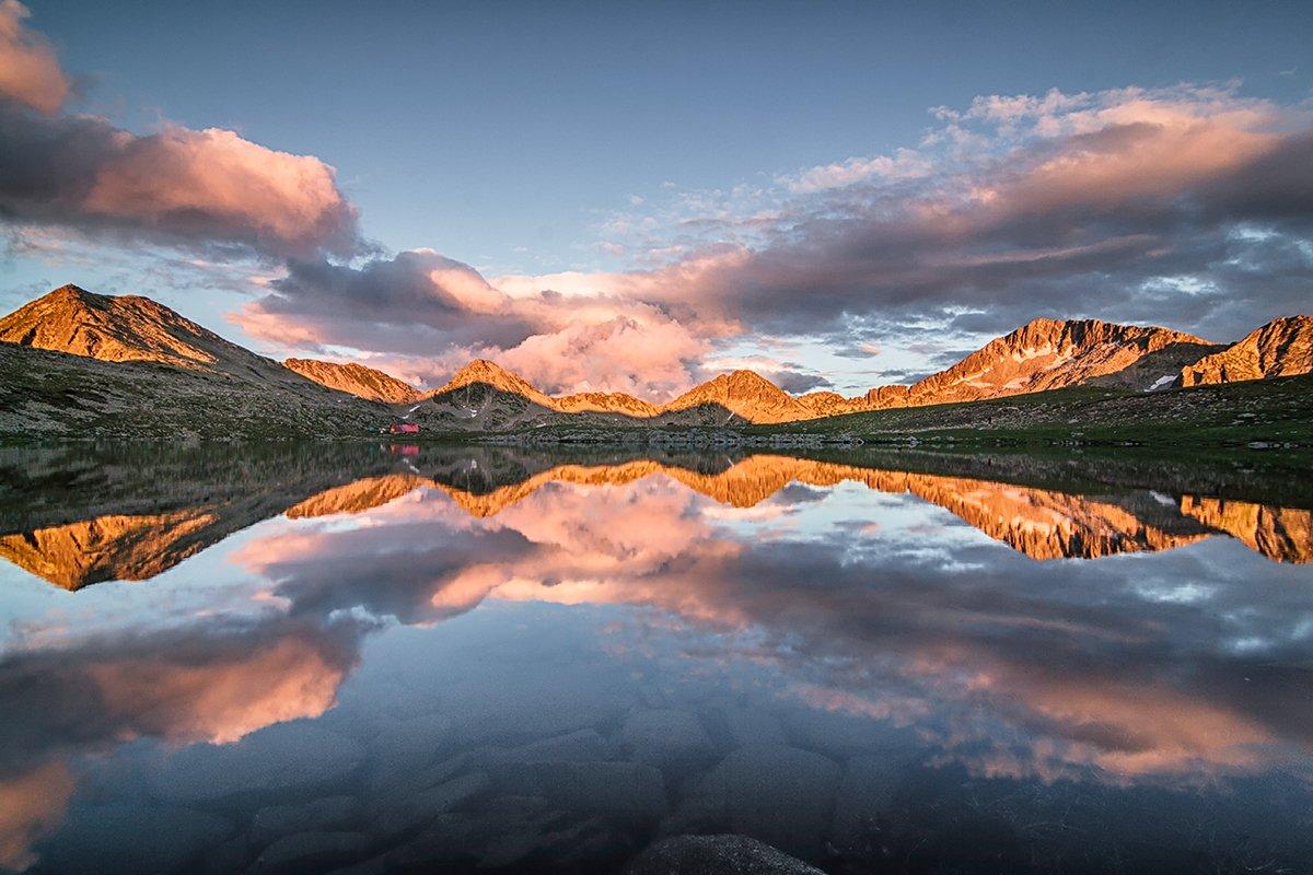 Lake, Mirror, Mountain, Reflection, Sunset, Симеон Патарозлиев