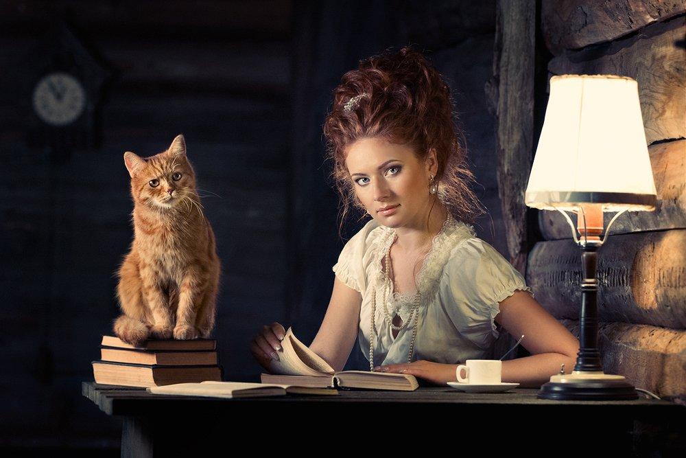 Девушка, Книги, Кот, Лампа, Рыжая, Рыжий, Стол, Часы, Ярунин Олег