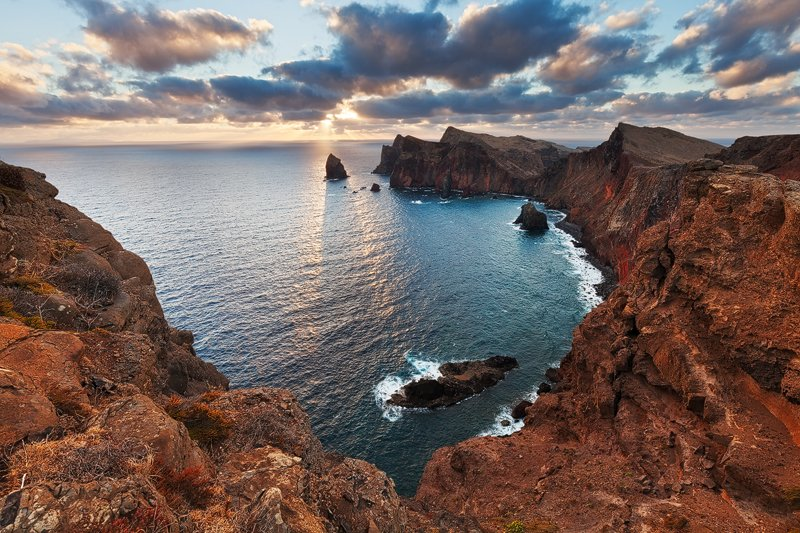 Cliffs, Madeira, Ocean, Rocks, Sea, Shadows, Sky, Sun, Sunrise, Volcanic, Martin Rak