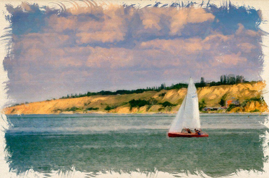 Картина, Море, Небо, Облака, Очаков, Парус, Парусник, Яхта, Олег Скворцов