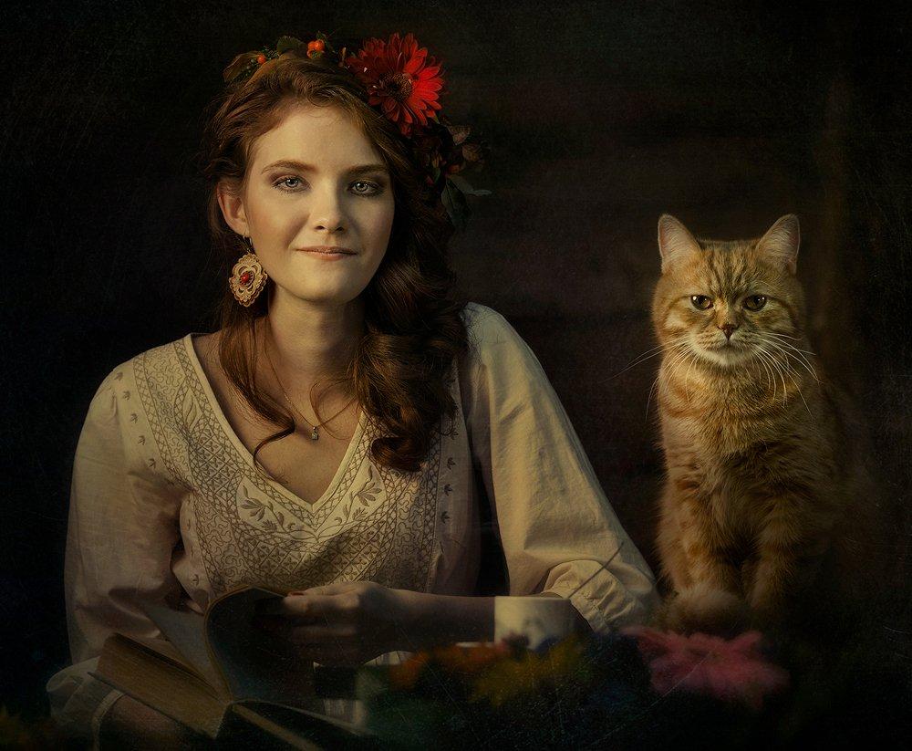 Девушка, Книга, Кот, Рыжий, Цветы, Ярунин Олег