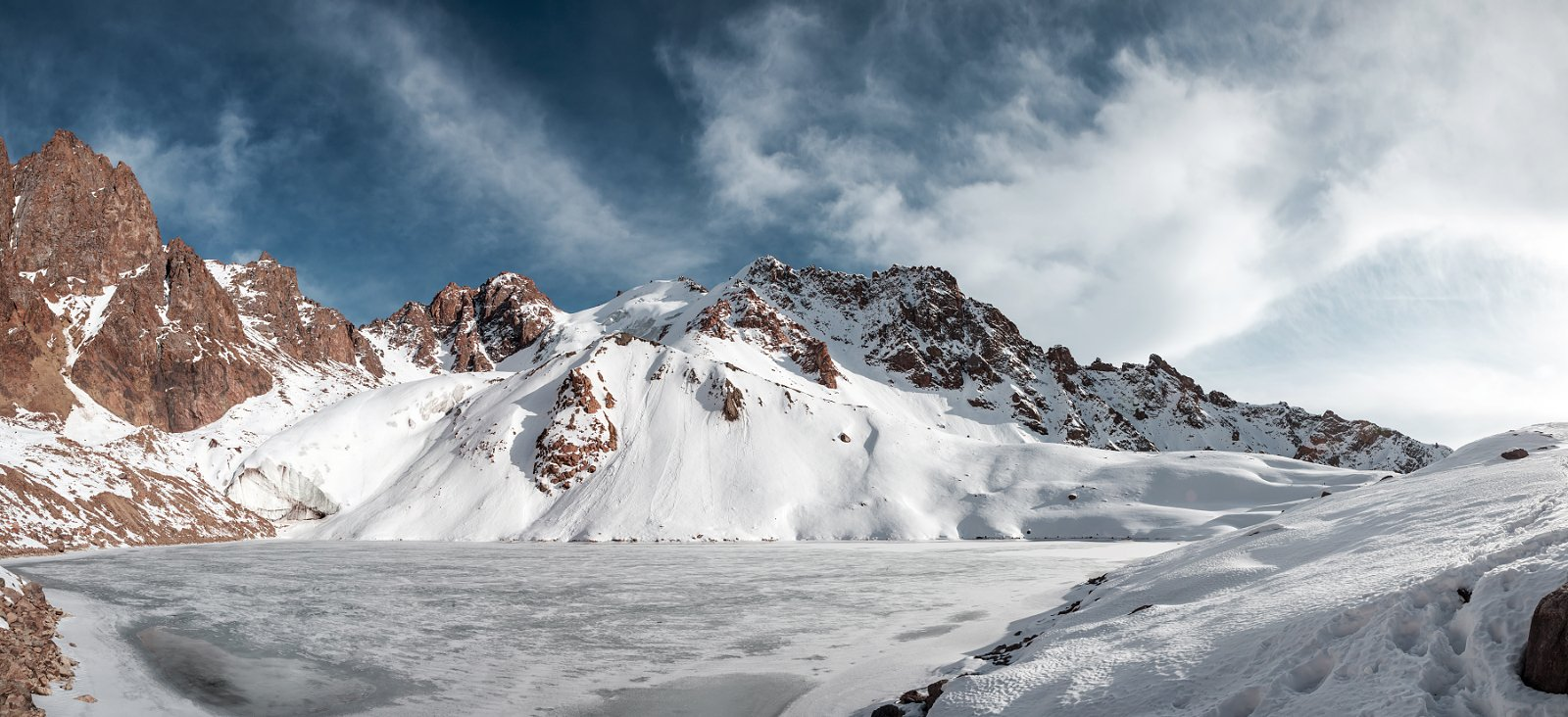 Almaty, Clouds, Glacier, Ice, Lake, Landscape, Mountain, Nature, Rocks, Sky, Snow, Winter, Anton Akhmatov