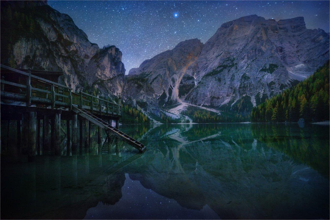 Dolomites, Lago di Braies, Вода, Горы, Доломитовые альпы, Звезды, Ночь, Озеро, Причал, Александр Киценко