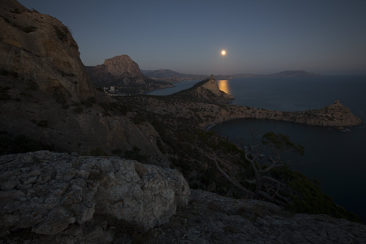 пейзаж., море., ночь., луна., крым., берег., Сергей Шульга