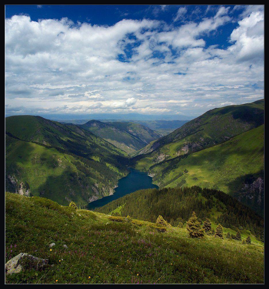 горы,природа,озеро,скалы,цветы,облака,ущелье,лес,трава,камни, Андрей Ухов