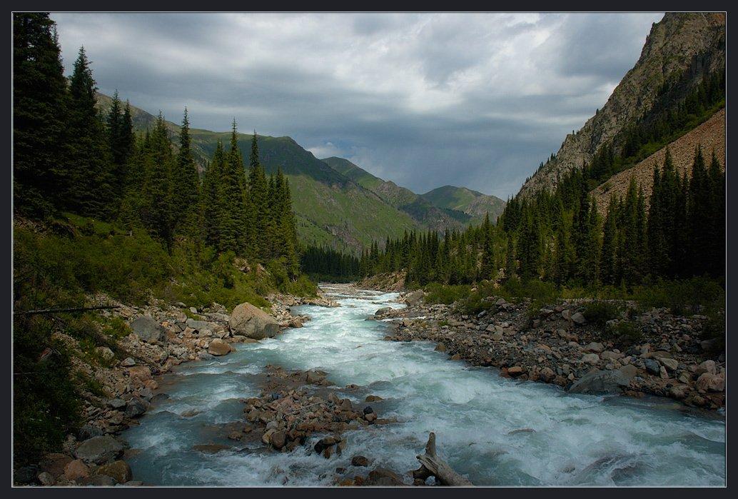 горы,природа,река,скалы,камни,облака,ущелье,лес,трава, Андрей Ухов