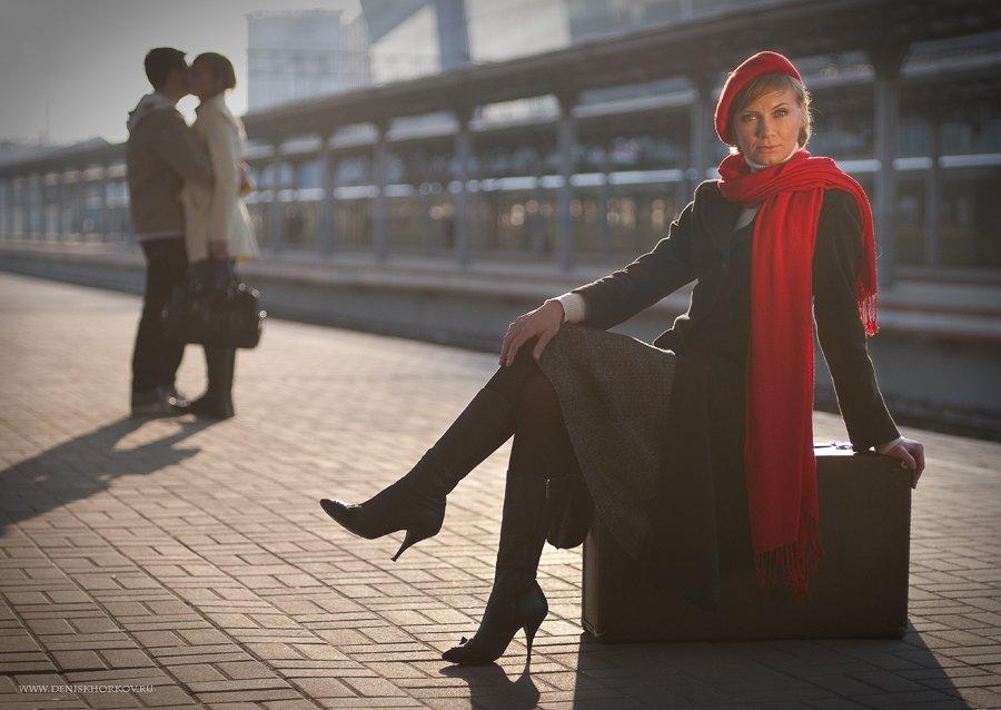 вокзал, девушка, Denis Khorkov