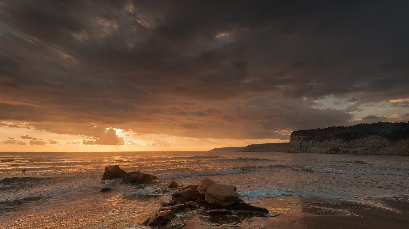 Cyprus, Kourion beach, Sea, Sunset, Kolebidenko Vladimir