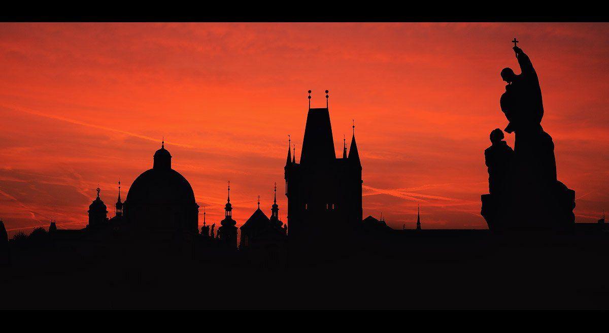 Прага, Путешествия, Рассвет, Силуэт, Чехия, Бычков Денис