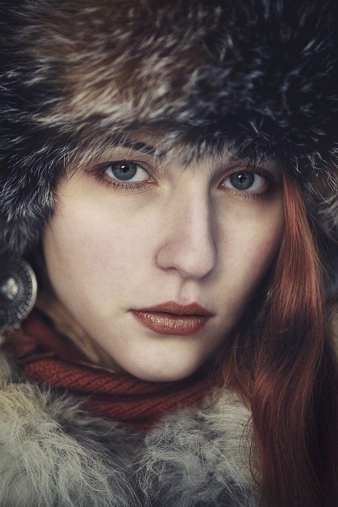 Девушка, Зима, Мех, Портрет, Портрет девушки, Ефимов Александр
