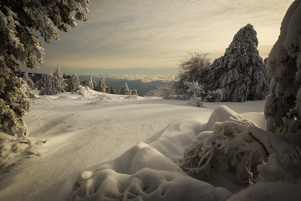 Крым. пейзаж. горы. зима. небо., Сергей Шульга
