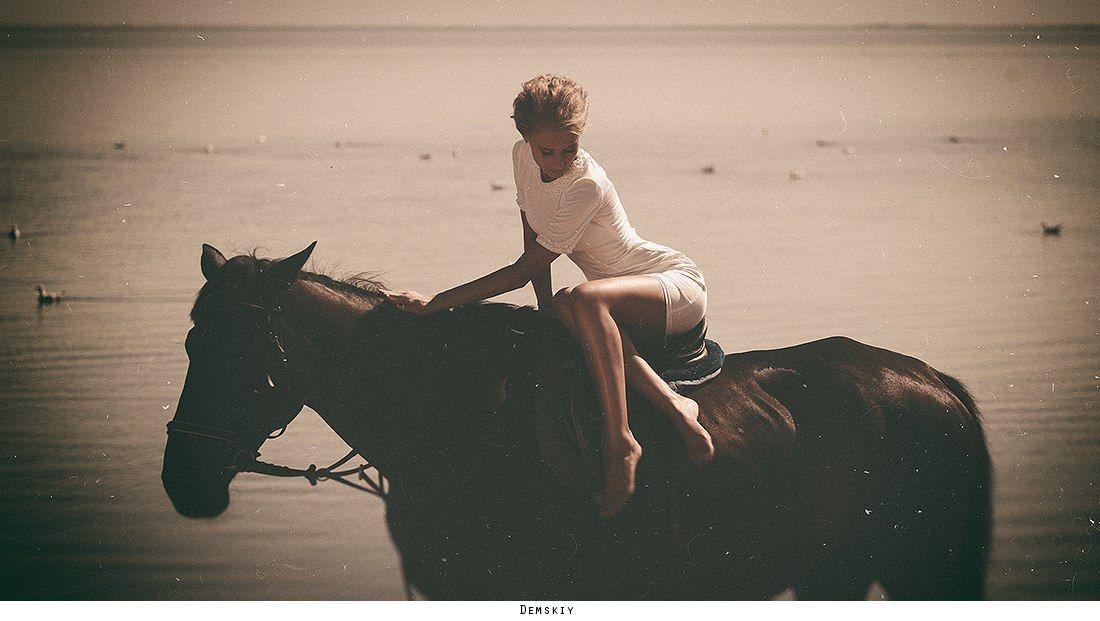 девушка, модель, лошадь, море, Руслан