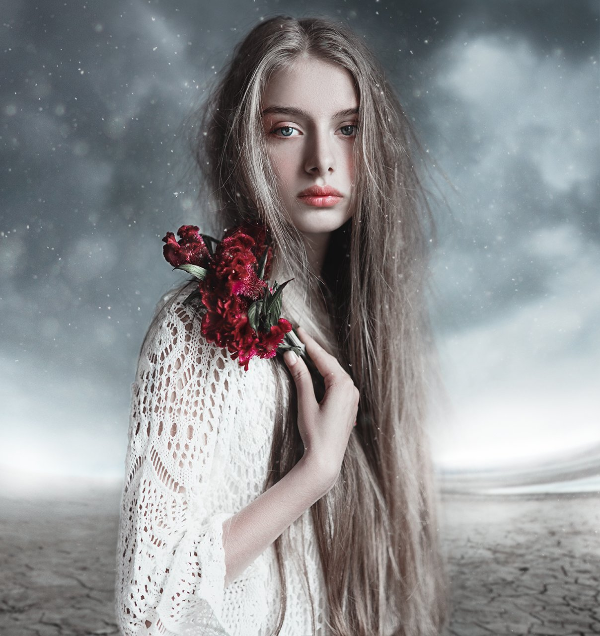 snow, beauty, winter, longhair, girl, red, cold, Less Roxy
