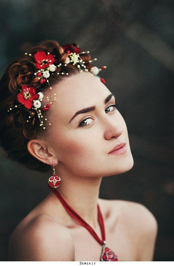 девушка, модель, портрет, цветы, Руслан