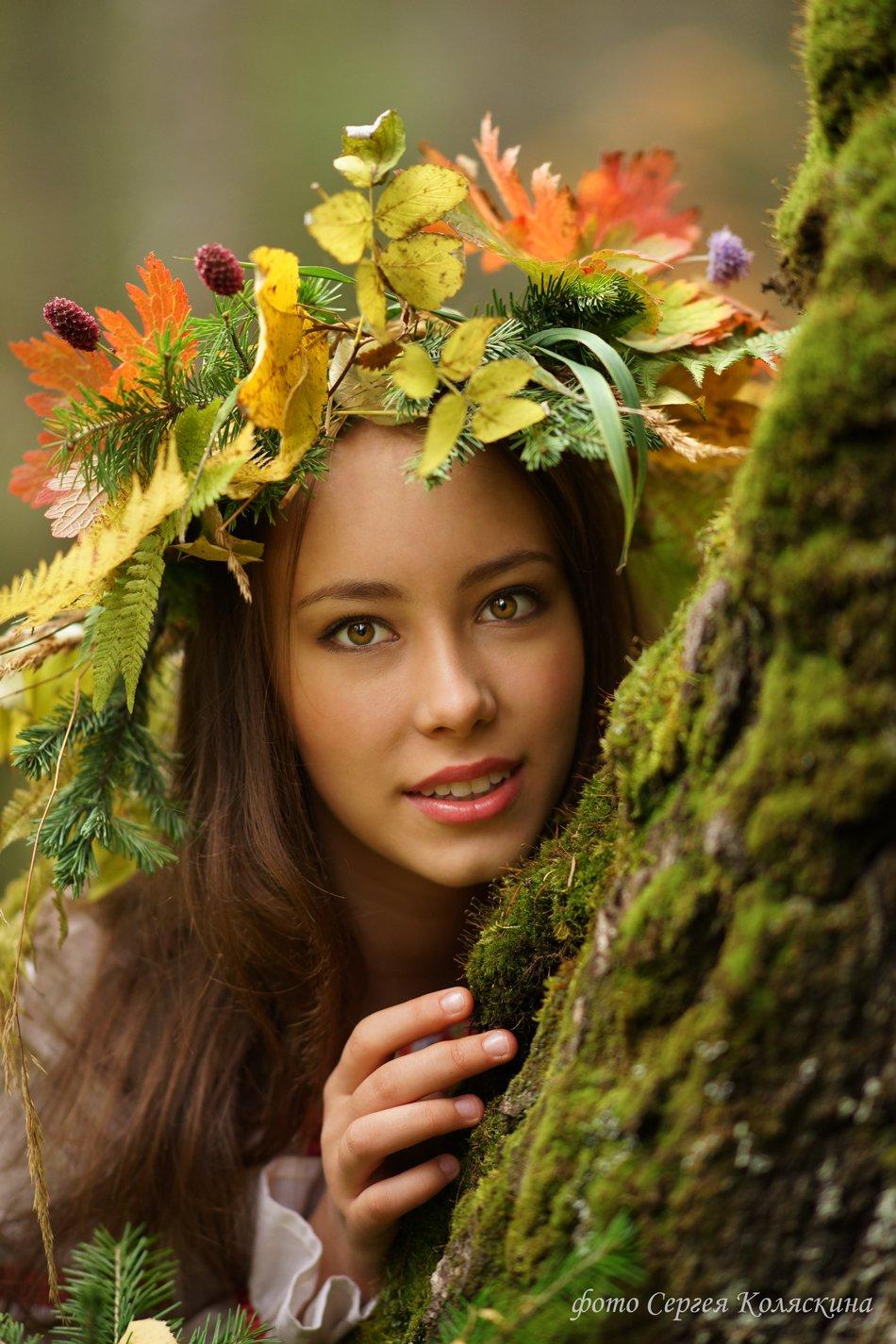 Портрет, девочка, девушка, женщина, осень, листья, лес, Сергей Коляскин, Сергей Коляскин