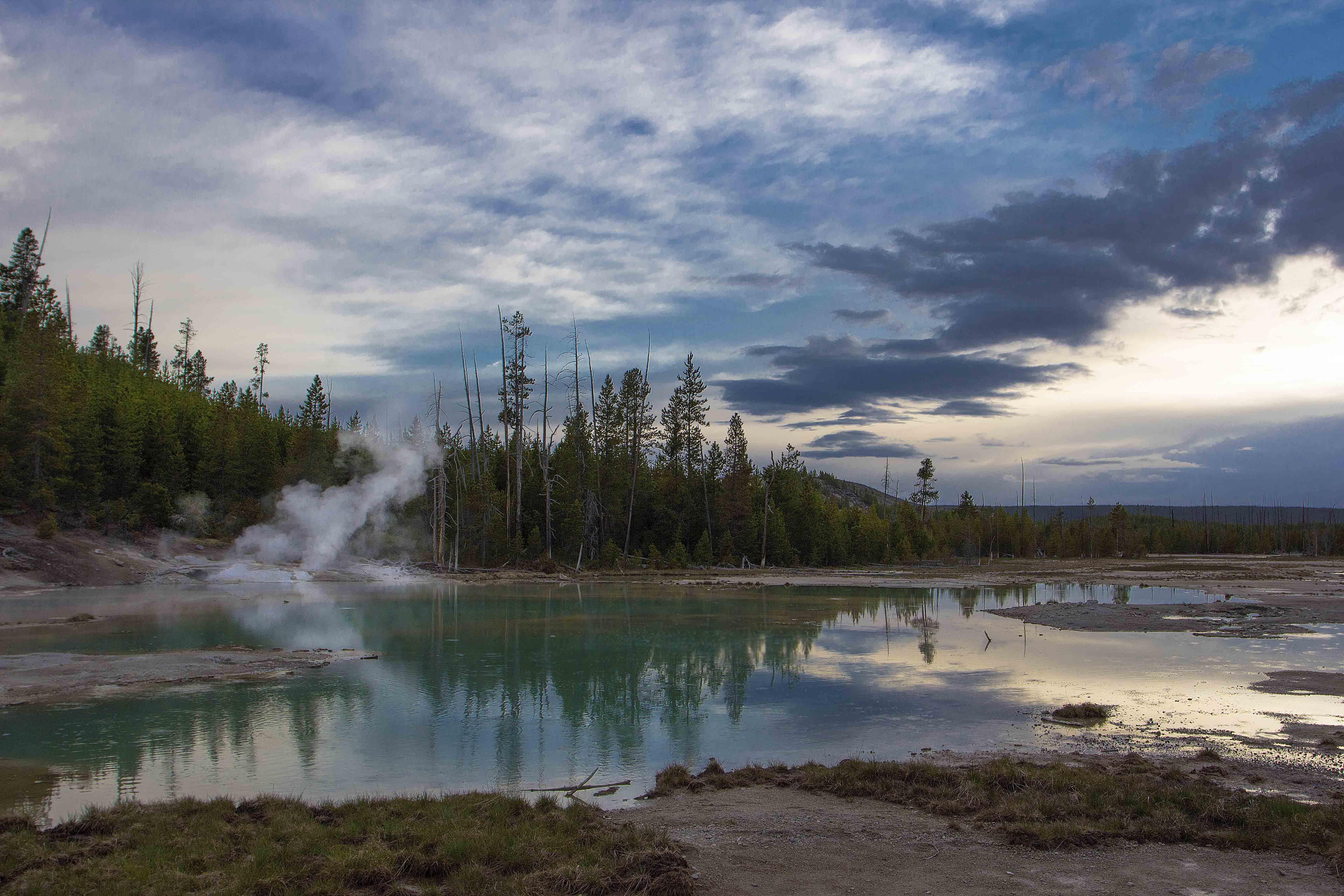 hot springs, norris area, porcelain pool, steam, yellowstone, Екатерина Богданова
