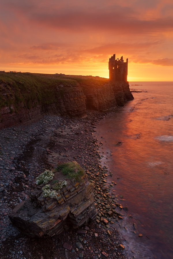 castle, landscape, scotland, замок, рассвет, шотландия, Alex Darkside