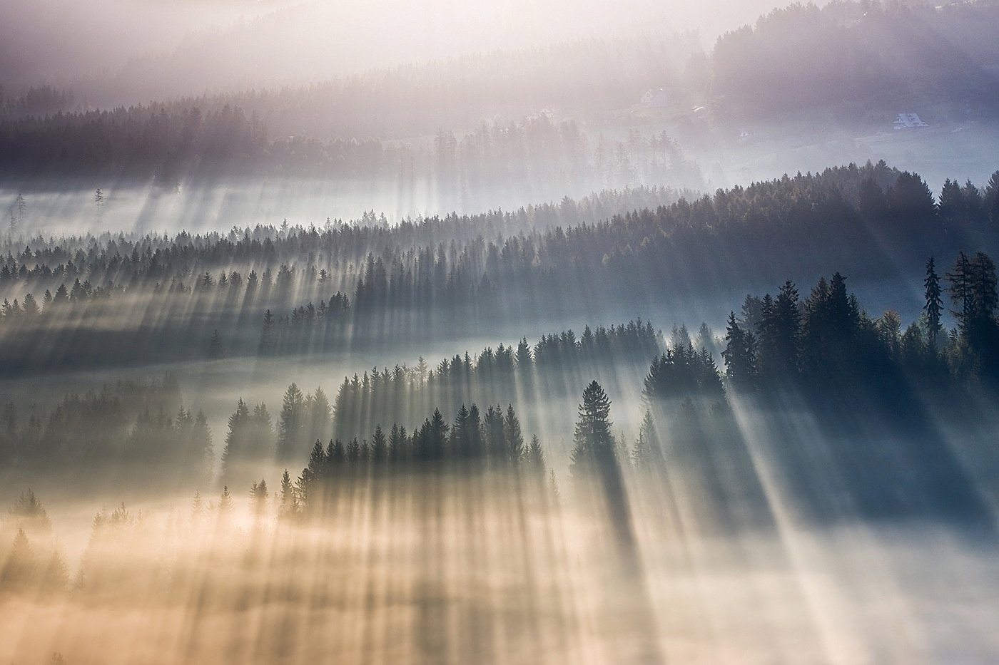Fog, Mountains, Mountains Beskids, Rays, Boguslaw Strempel