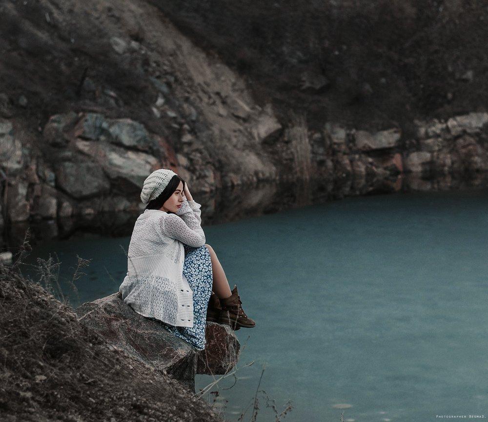 50mm, Nikon, Берег реки, Девушка, Красивая, Обрыв, Портрет, Скалы, Фото, Фотография, Дмитрий Бегма